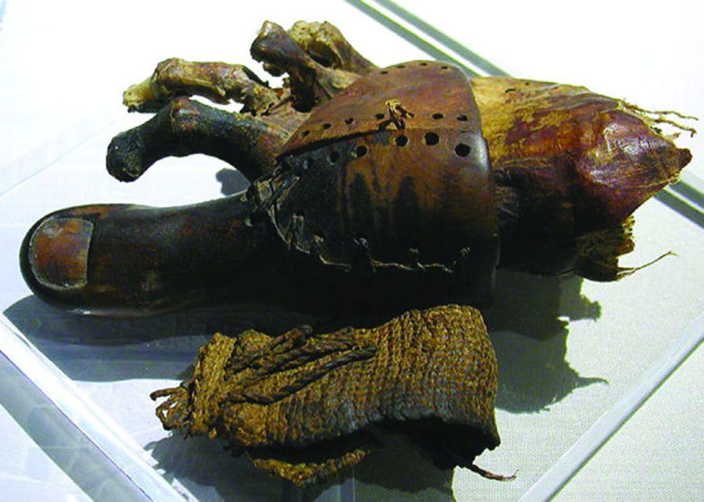 Prótesis de madera y cuero en una momia egipcia