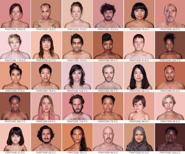 Diferentes colores piel PANTONE por Angelica Dass